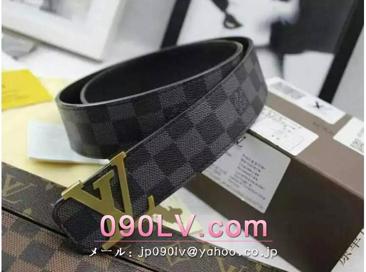 ルイヴィトンブランドベルトコピー ダミエ グラフィット ゴールド金具 LV030