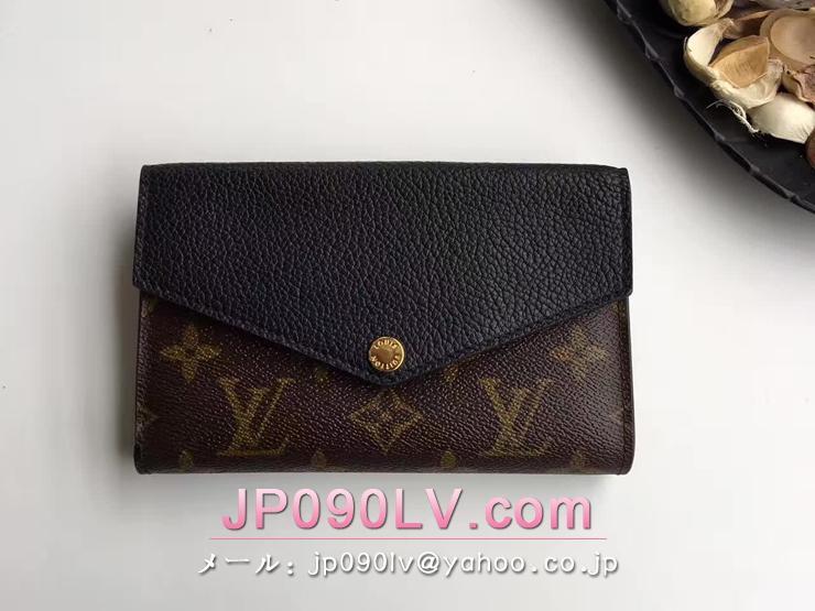 ルイヴィトン モノグラム 財布 コピー M60990 「LOUIS VUITTON」 ポルトフォイユ・パラス コンパクト ヴィトン カーフ レディース 二つ折り財布 3色 ノワール