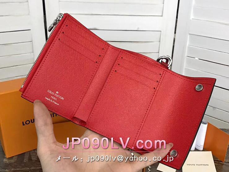 ルイヴィトン×シュプリーム エピ 財布 スーパーコピー M67755 「LOUIS VUITTON SUPREME」 チェーンウォレット メンズ 三つ折り財布 赤×白