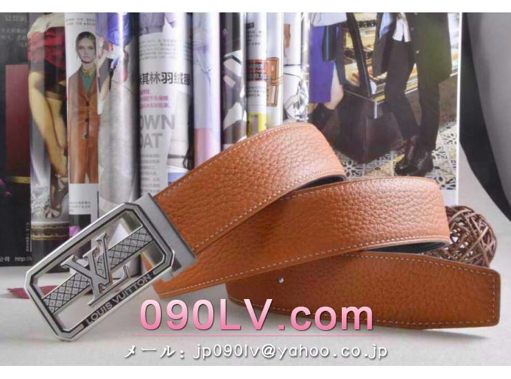 LV009橙色 ルイヴィトンベルトスーパーコピー 銀色のベルトヘッド