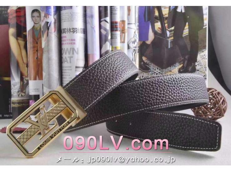 LV008黒 ルイヴィトンベルトコピー 金色のベルトヘッド