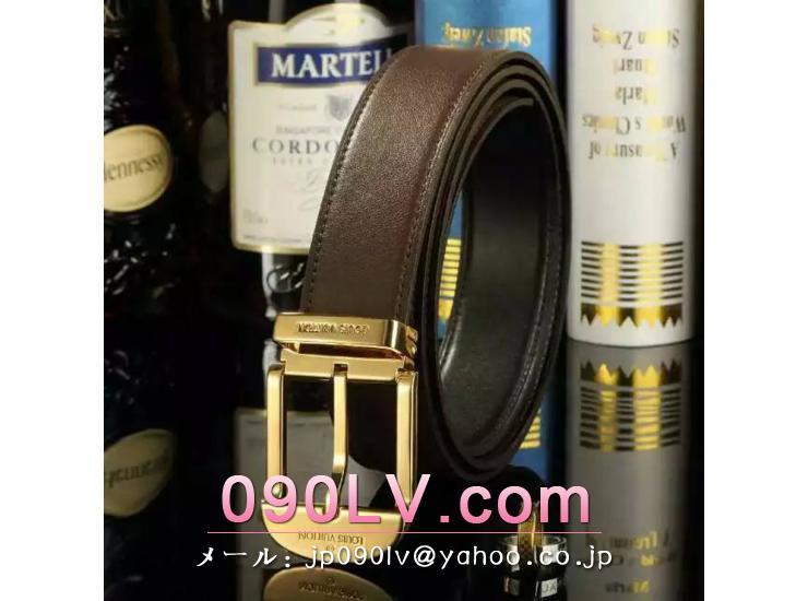 LV012 ルイヴィトンベルトコピー 牛革金色のベルトヘッド