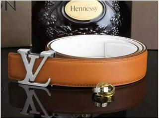 LV017橙色 ルイヴィトンベルトスーパーコピー 牛革 銀色のベルトヘッド