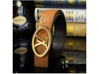 LV022 ルイヴィトンベルトコピー ブランドベルトコピー 金色の金具 牛革(ダチョウ紋)