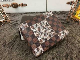 N61212 ルイヴィトンポルトフォイユ・ミュルティプル財布 ダミエのロープ柄 ファッション人気財布