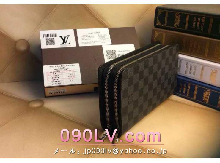 ルイヴィトンブランド偽物クラッチバッグ ルイヴィトンダミエ グラフィットラウンドファスナー財布 AN2016