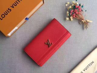 M62326 ルイヴィトン 長財布 スーパーコピー「LOUIS VUITTON LOCKME II」ポルトフォイユ・ロックミー II その他レザー 二つ折り財布 ルビー