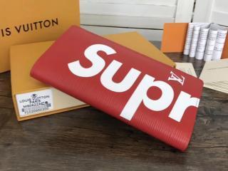 M67719 ルイ・ヴィトン エピ 長財布 スーパーコピー 【LOUIS VUITTON x SUPREME】 ポルトフォイユ ブラザ 赤×白 シュプリーム 二つ折財布