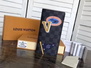 ルイ・ヴィトン メンズ 二つ折り財布 LVリーグ 「LOUIS VUITTON」 ポルトフォイユ・ブラザ ルイヴィトン ダミエ・グラフィット 財布 コピー N64438