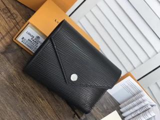 ヴィトン エピ 三つ折り財布 コピー M62173 「LOUIS VUITTON」 ポルトフォイユ・ヴィクトリーヌ ルイヴィトン レディース 大人気ミニ財布 4色選択可 ノワール