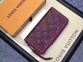 ルイヴィトン モノグラム・アンプラント 財布 コピー M64803 「LOUIS VUITTON」 17新作 ジッピー・ウォレット レザン ラウンドファスナー長財布 3色可選択 Raisin
