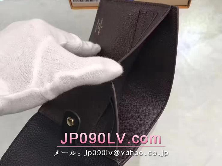 ルイヴィトン ダミエ・エベヌ 財布 コピー N60044 「LOUIS VUITTON」 ポルトフォイユ・ノルマンディー ヴィトン トリヨン レディース 二つ折り財布 2色可選択 ノワール