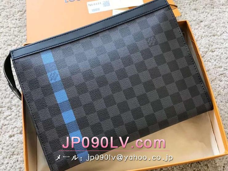 ルイヴィトン ダミエ・グラフィット バッグ コピー N64444 「LOUIS VUITTON」 ポシェット・ヴォワヤージュ MM ヴィトン メンズ クラッチバッグ 2色可選択 ネオン