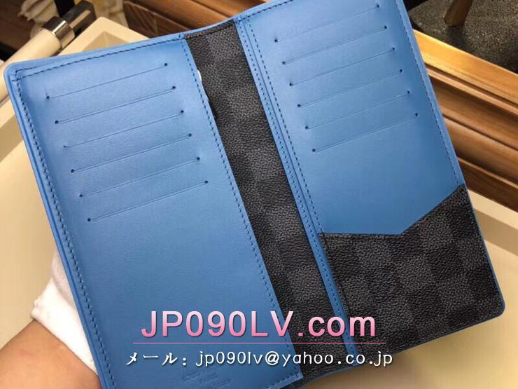 ルイヴィトン ダミエ・グラフィット 長財布 コピー N64430 「LOUIS VUITTON」 ポルトフォイユ・ブラザ ヴィトン メンズ 二つ折り財布