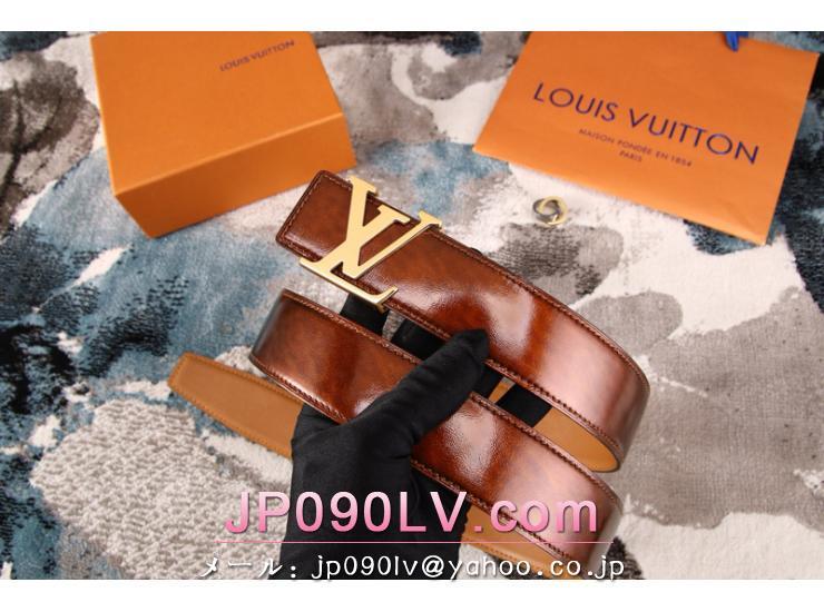 ルイヴィトンベルト LVロコゴールド金具  牛革(エナメル) 男女兼用 両面使用可 幅38MM