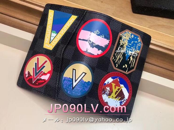 ルイヴィトン ダミエ・グラフィット 財布 コピー N60130 「LOUIS VUITTON」 オーガナイザー・ドゥ ポッシュ メンズ 二つ折り財布