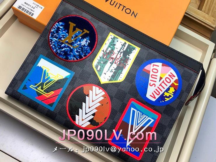 ルイヴィトン ダミエ・グラフィット バッグ スーパーコピー N60134 「LOUIS VUITTON」 ポシェット・ヴォワヤージュ MM メンズ クラッチバッグ