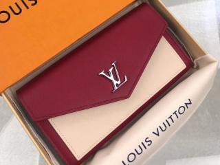 ルイヴィトン カーフ 長財布 スーパーコピー M63810 「LOUIS VUITTON」 ポルトフォイユ・マイロックミー レディース 二つ折り財布 4色可選択 Lie De Vin Etain Creme