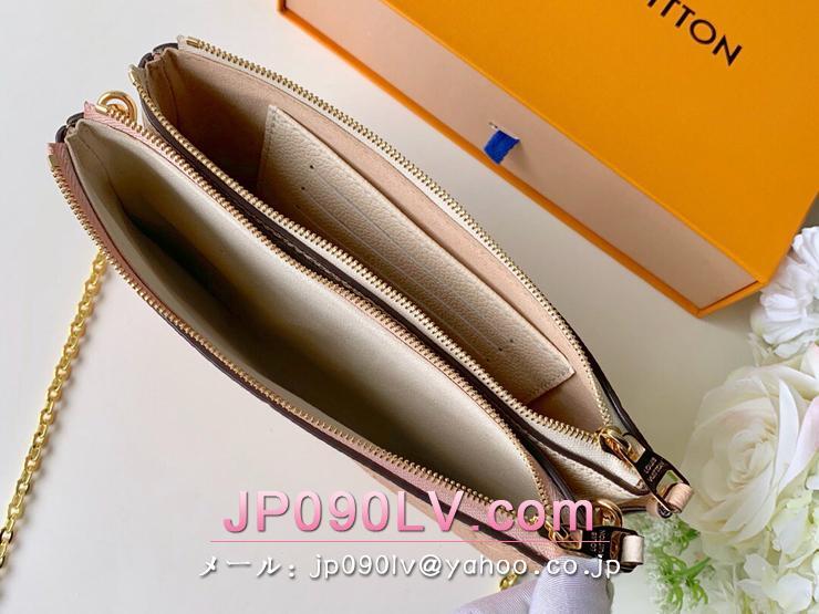 ルイヴィトン モノグラム・アンプラント バッグ コピー M63919 「LOUIS VUITTON」 ポシェット・ドゥーブル ジップ レディース ショルダーバッグ 2色可選択 ベージュドレ