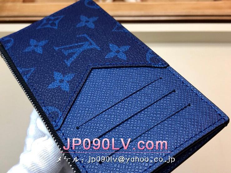 ルイヴィトン タイガ 財布 スーパーコピー M30270 「LOUIS VUITTON」 コインカード・フォルダー モノグラム メンズ ラウンドファスナー財布 コバルト