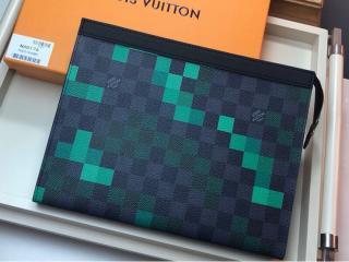 ルイヴィトン ダミエ・グラフィット バッグ コピー N60176 「LOUIS VUITTON」 ポシェット・ヴォワヤージュ MM メンズ クラッチバッグ
