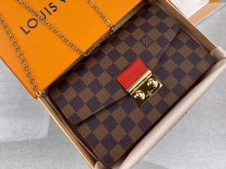 ルイヴィトン ダミエ・エベヌ 財布 スーパーコピー N60288 「LOUIS VUITTON」 ポルトフォイユ・クロワゼット チェーン レディース 二つ折り財布 2色可選択 スカーレット