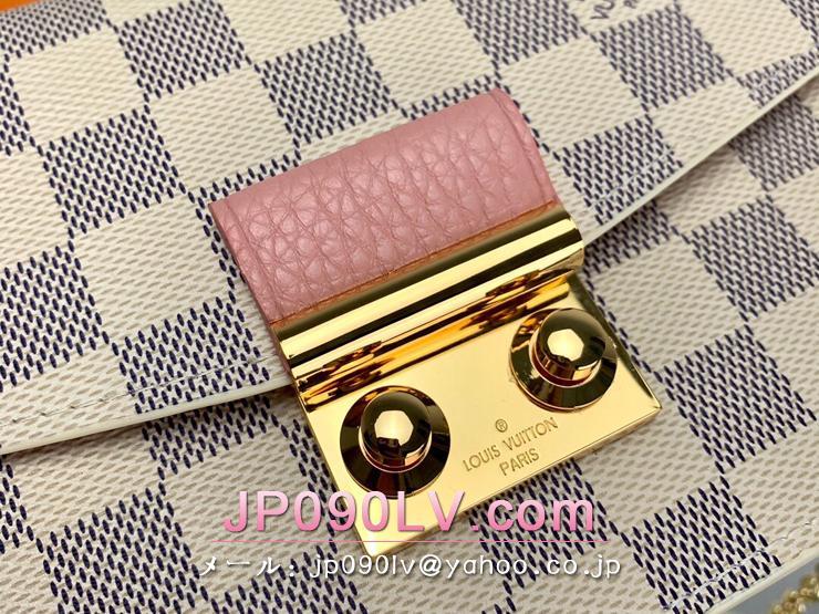 ルイヴィトン ダミエ・アズール 財布 スーパーコピー N60357 「LOUIS VUITTON」 ポルトフォイユ・クロワゼット チェーン レディース 財布 2色可選択 ローズ・バレリーヌ