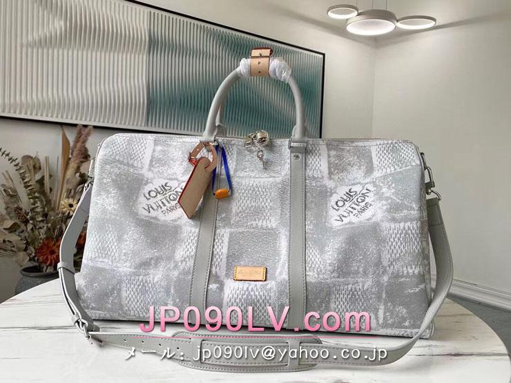 ルイヴィトン ダミエ・ソルト バッグ コピー N50069 「LOUIS VUITTON」 21新作 キーポル・バンドリエール 50 メンズ ボストンバッグ 2色可選択 LIGHT GREY